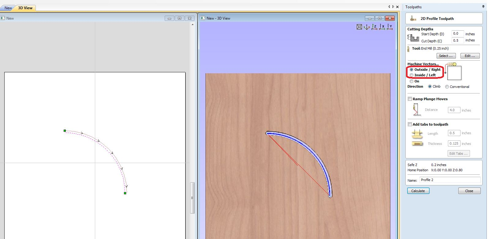 Cut2D Profile toolpath setup.JPG