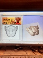Using a web image for the lioness, then building a model in Aspire.