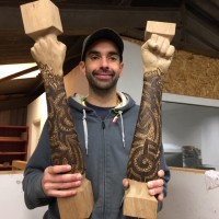 White Oak Newel Posts - CNC carved, hand carved and hand pyrographed.