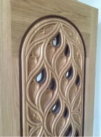 White oak door with walnut beading.